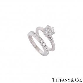 Tiffany & Co. Platinum Diamond Ring 1.36ct G/VVS1 With Diamond Half Eternity Ring